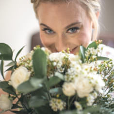 bouquet, floral, white roses, bride, up-do, forest, themed wedding, green theme