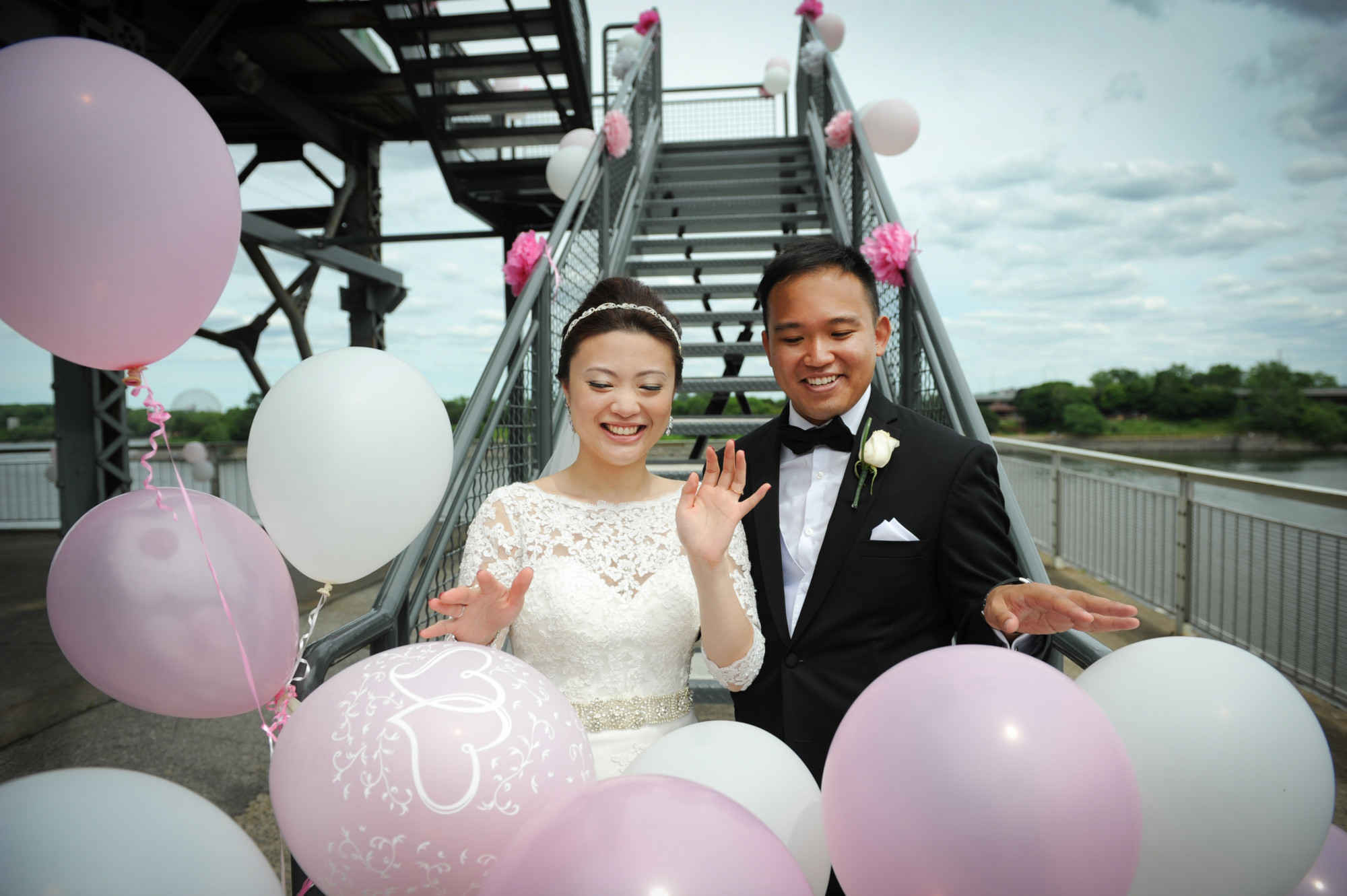 pink and white, wedding balloons, love, rooftop wedding ceremony,