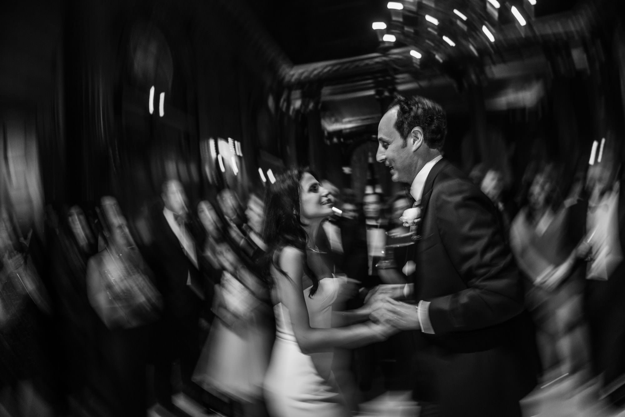 new york city artistic beautiful art wedding photography photographer photo groom bride emotional reception grand entrance jewish parents celebrating mazel tov first dance black and white bw