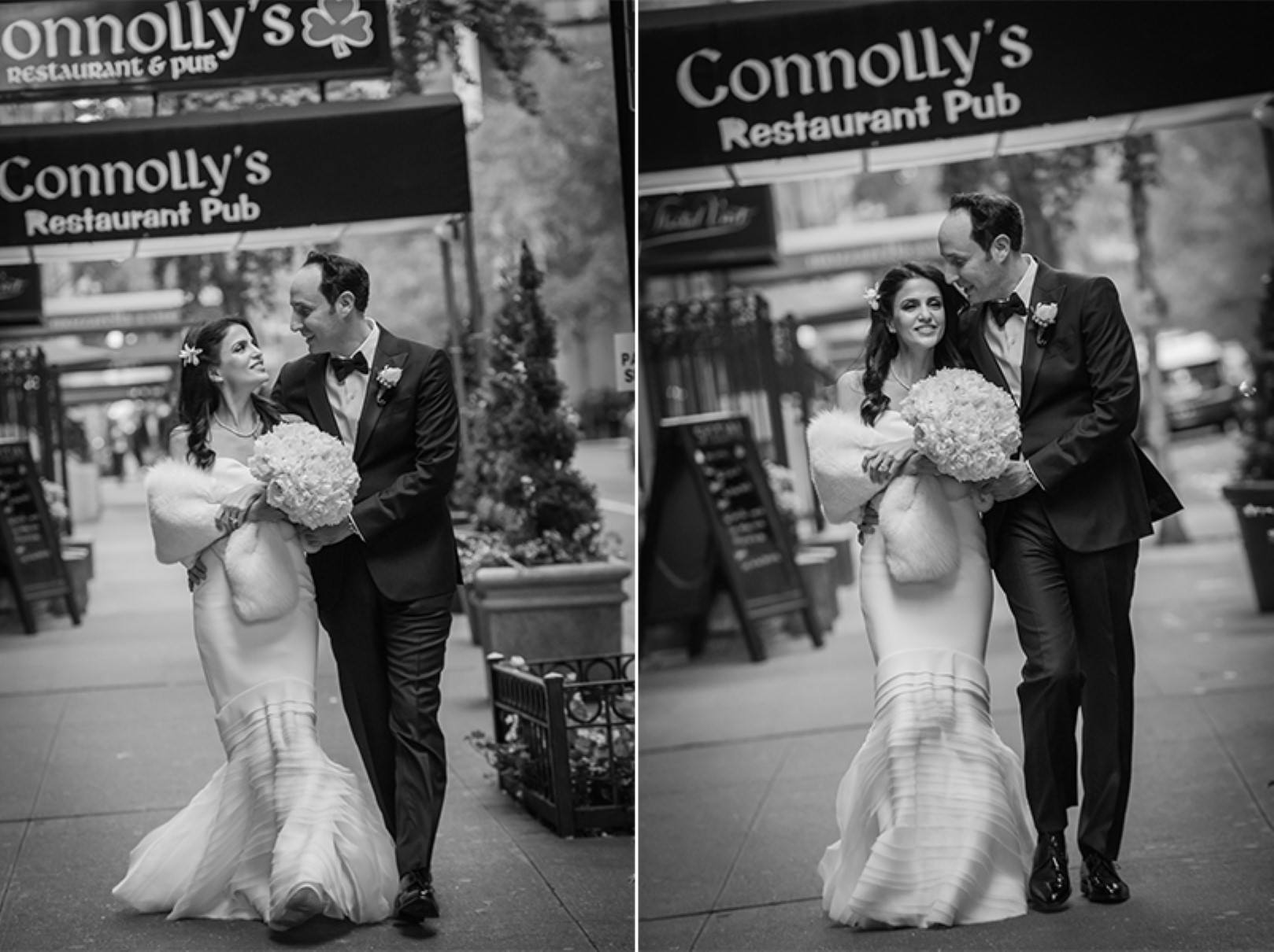 new york city wedding photography photographer photo groom bride emotional kiss black and white bw walking street