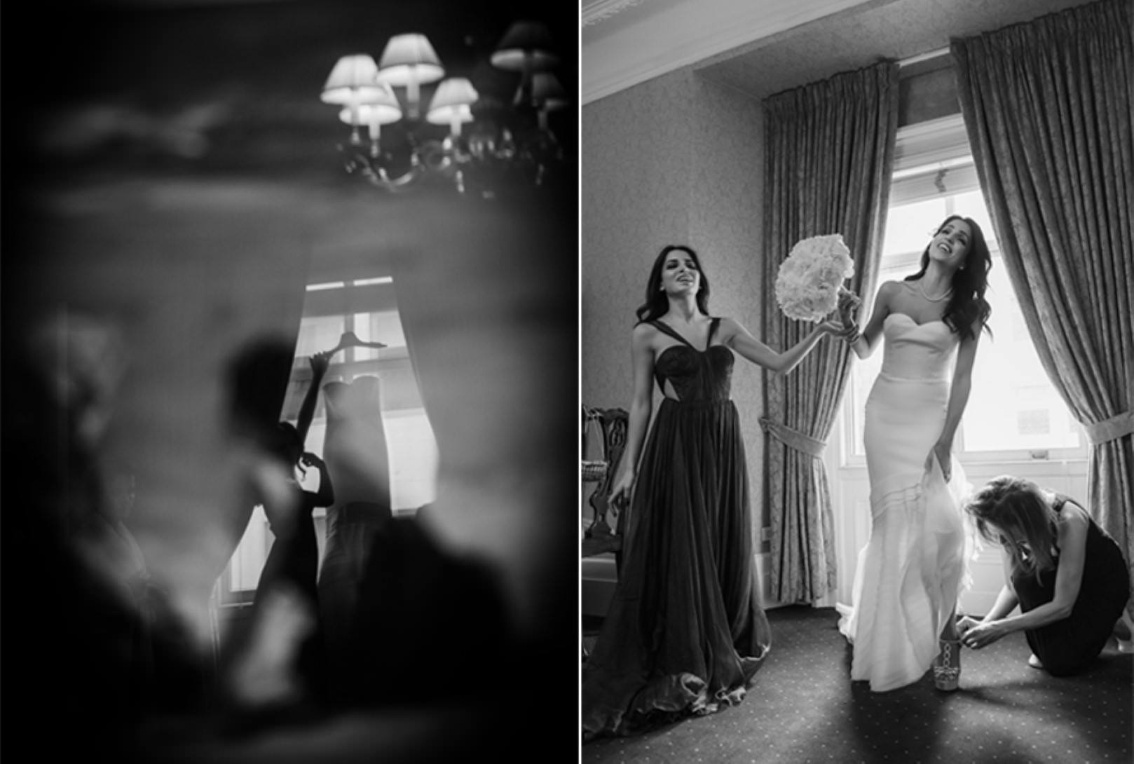 new york city wedding photography photographer photo bride getting ready hanging dress bouquet heels window