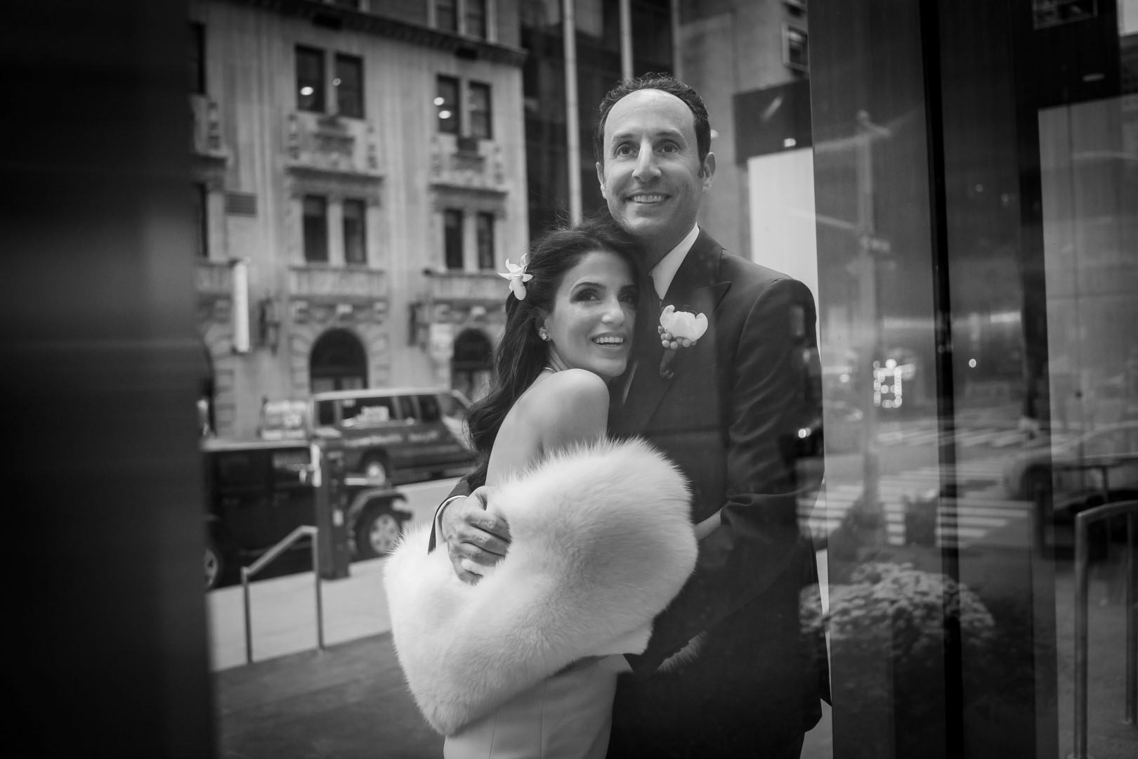 new york city artistic beautiful art wedding photography photographer photo groom bride emotional kiss walking street veil reflection black and white bw