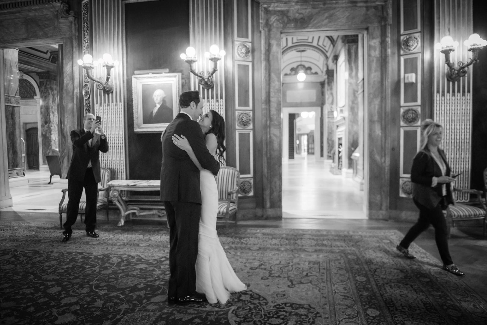 new york city wedding photography photographer photo groom bride first look emotional kiss black and white bw
